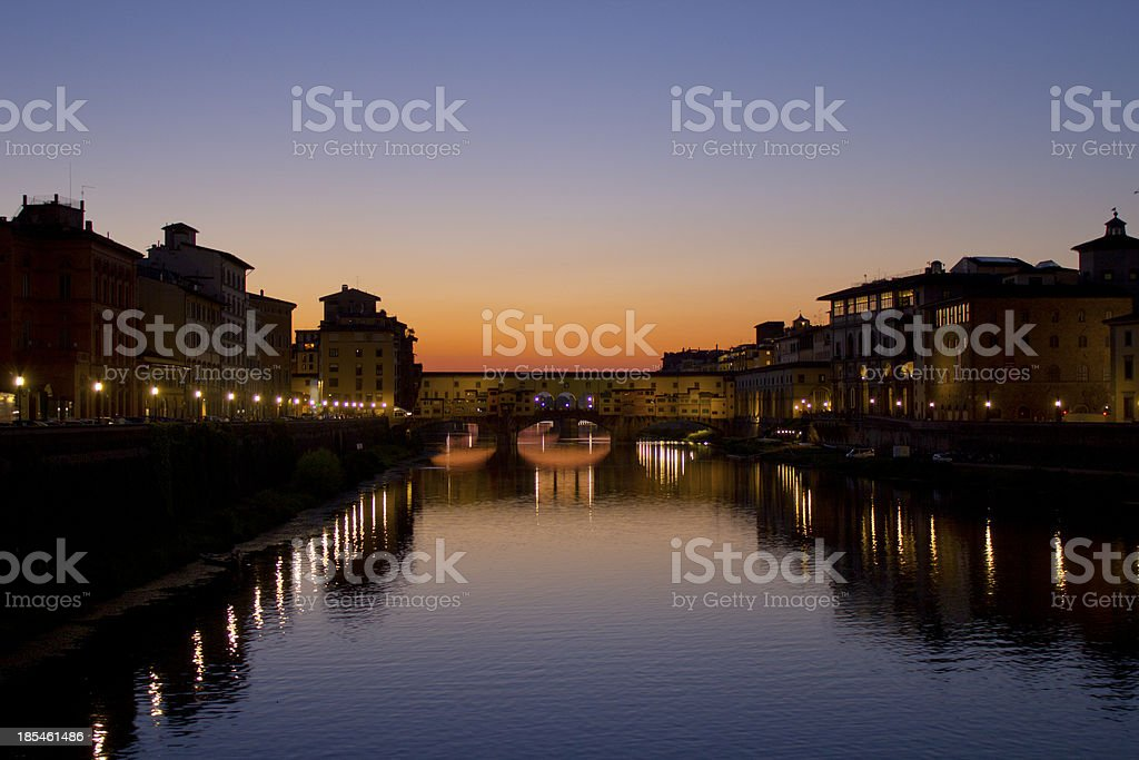 Ponte Vecchio at sunset royalty-free stock photo