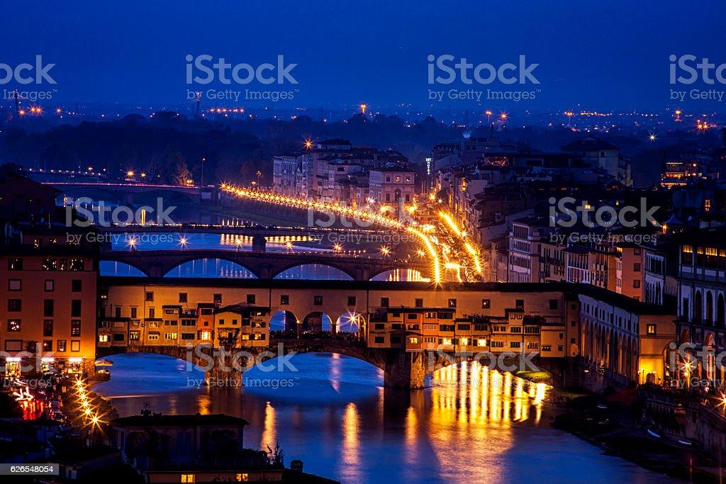 Ponte Vecchio at Twilight stock photo