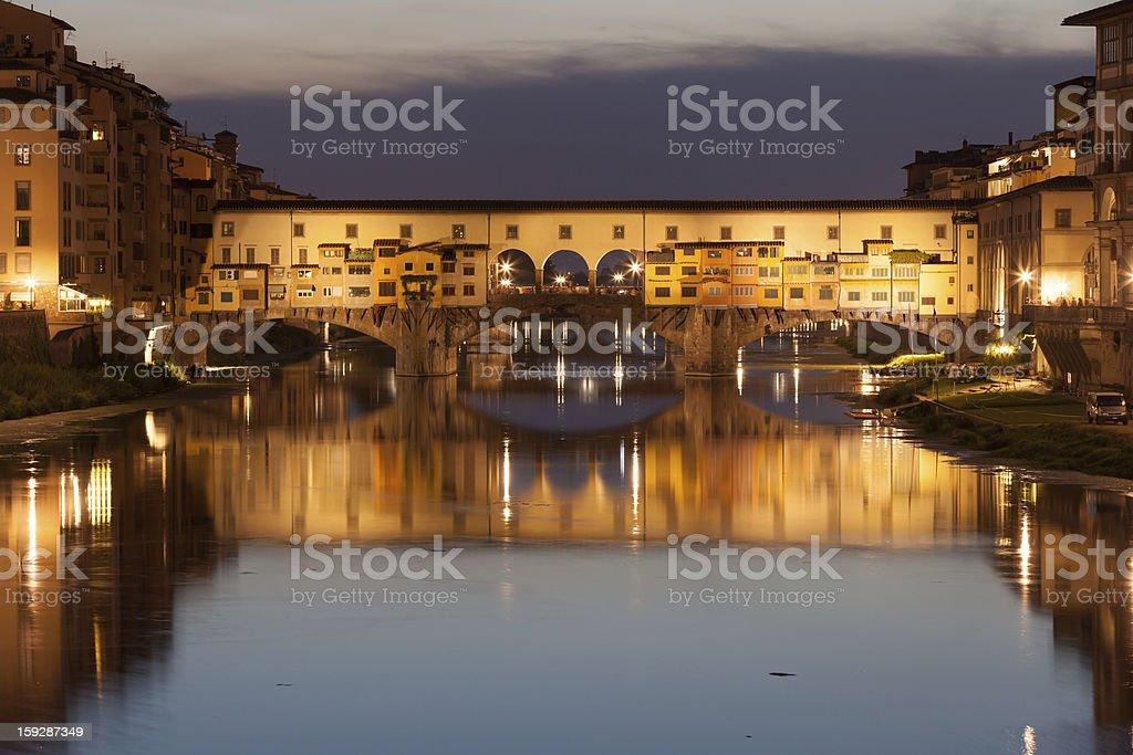 Ponte Vecchio bridge at dusk, Florence, Tuscany, Italy royalty-free stock photo