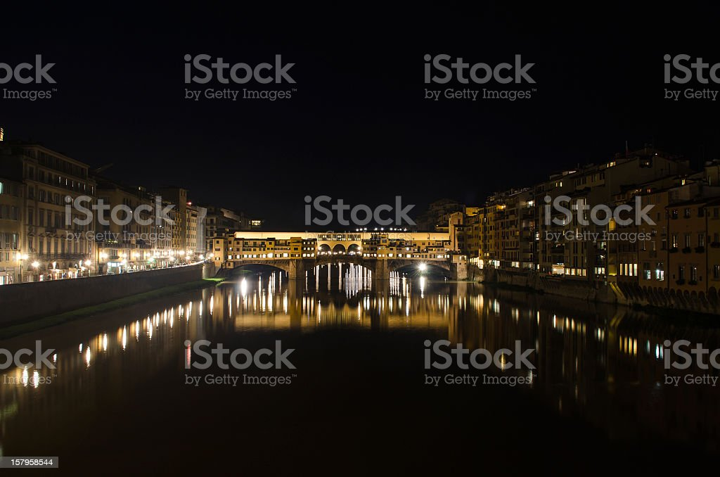 Ponte Vecchio Bridge at night stock photo