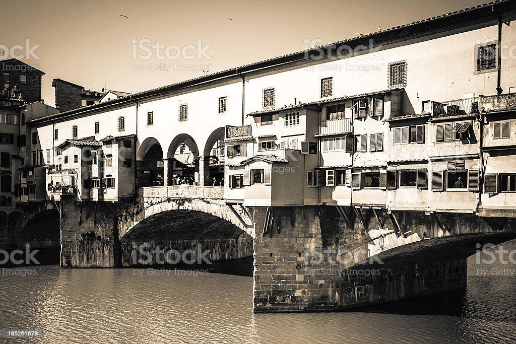 Ponte Vecchio Bridge in Firenze, Sepia Tones royalty-free stock photo