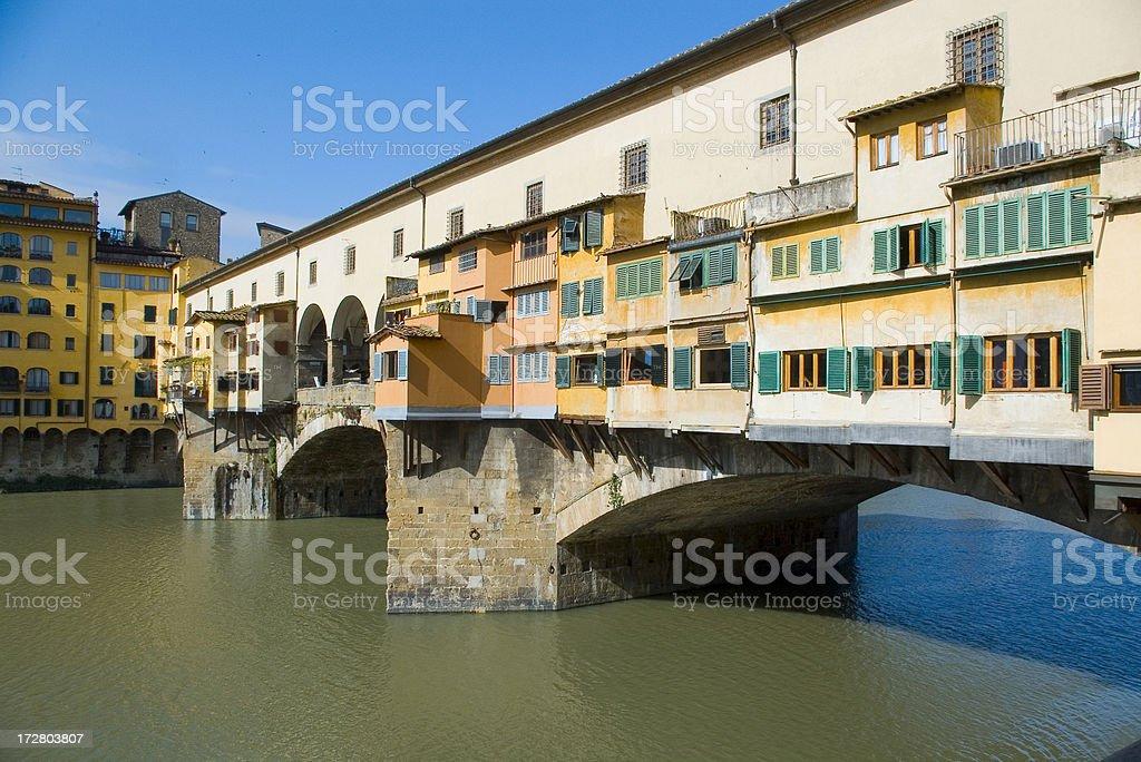 Ponte Vecchio Bridge over the River Arno in Florence Italy royalty-free stock photo