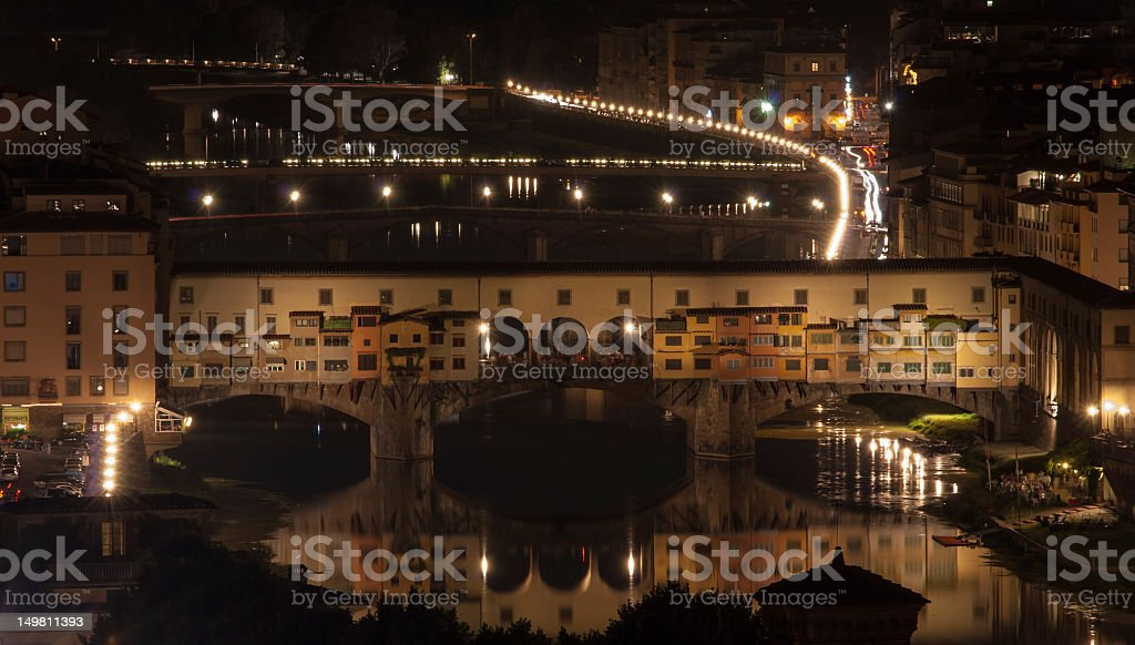 Ponte Vecchio Bridge viewed from Piazzale Michelangelo at night stock photo