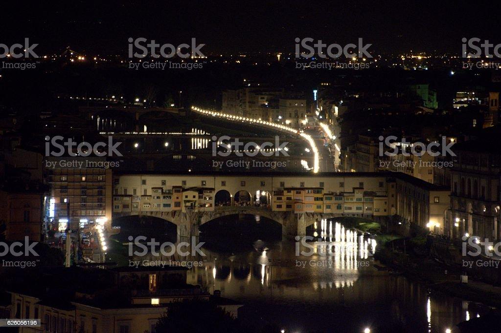 Ponte Vecchio by night, Florence stock photo