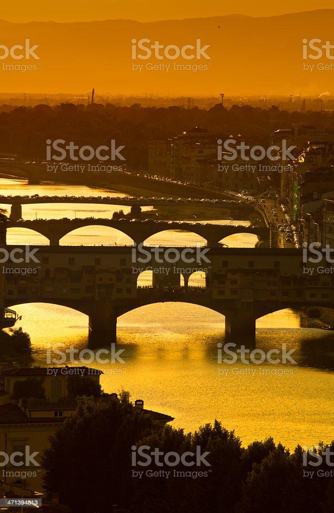 Ponte Vecchio during sunset.Florence.Italy. stock photo