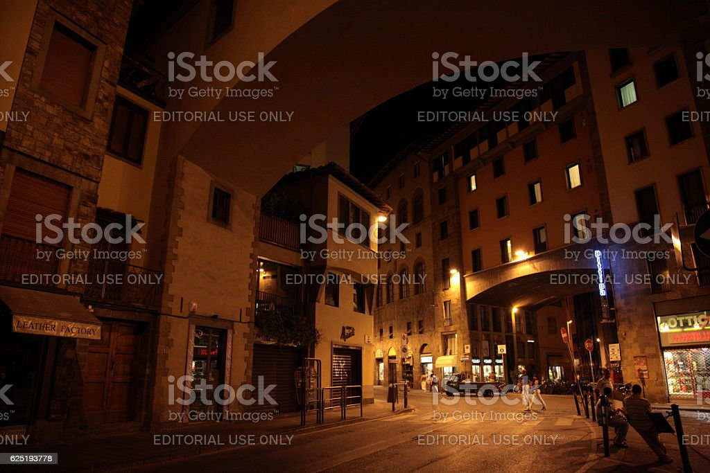 Ponte Vecchio during the night in Florence, Tuscany, Italy stock photo