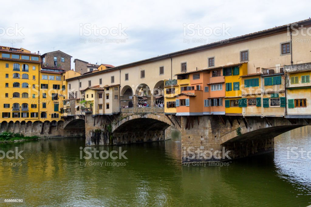 Ponte Vecchio, famous old bridge in Florence on the Arno river, Italy stock photo