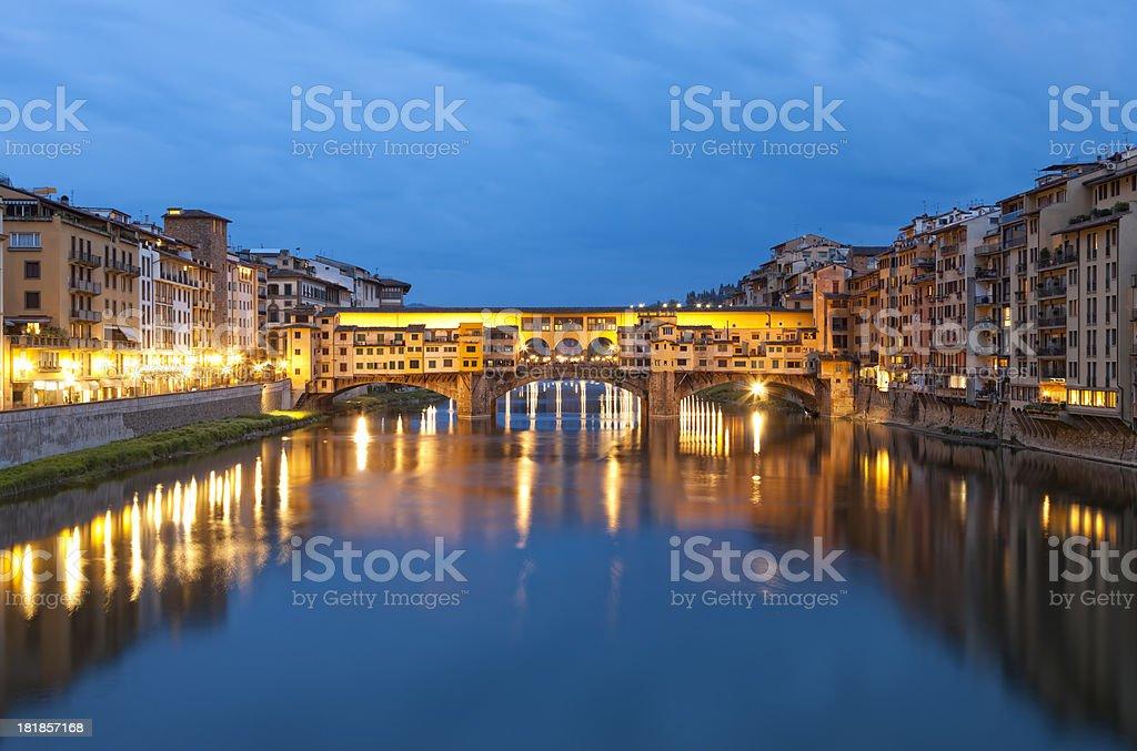 Ponte Vecchio Illuminated at Night, Arno River, Florence, Italy royalty-free stock photo