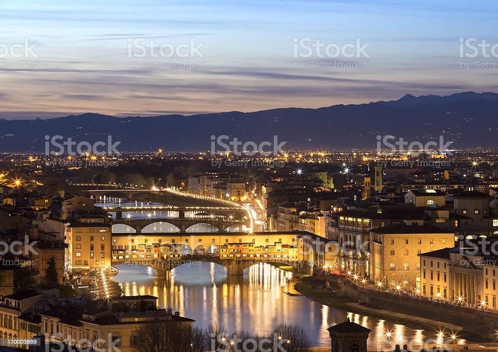 Ponte Vecchio seen from Piazzale Michelangelo, Florence Italy royalty-free stock photo