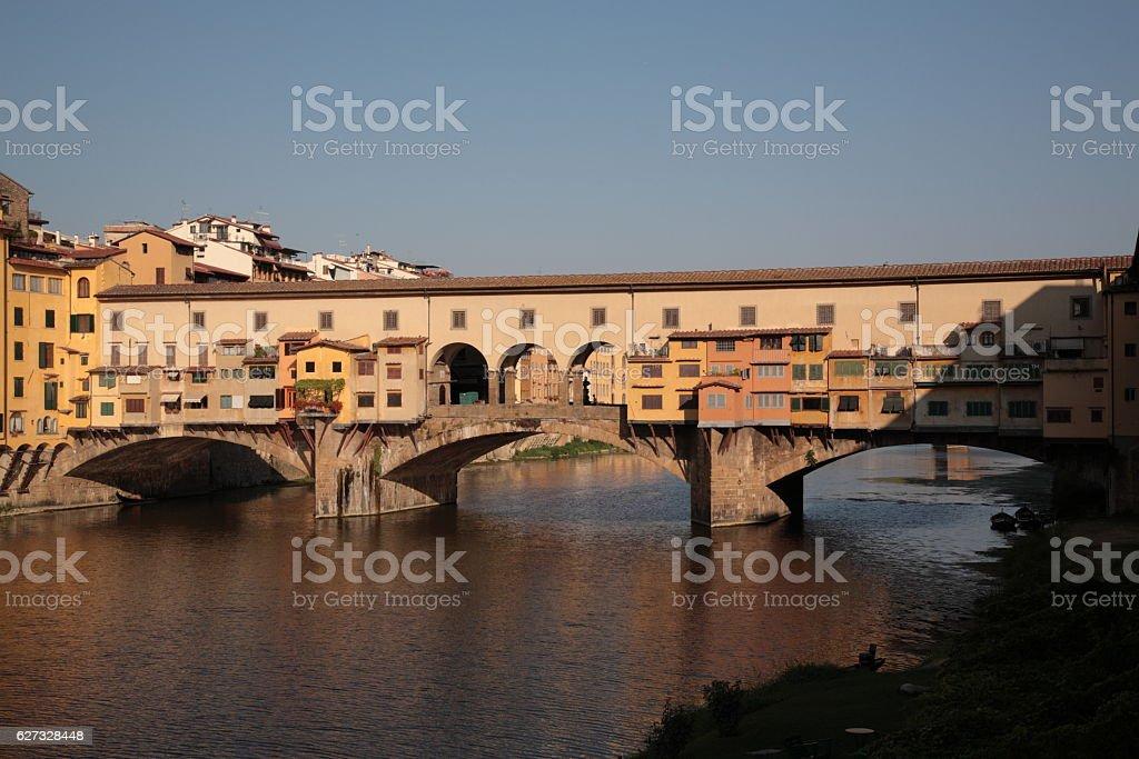 Ponte Vecchio under the sunrise, Florence, Italy stock photo