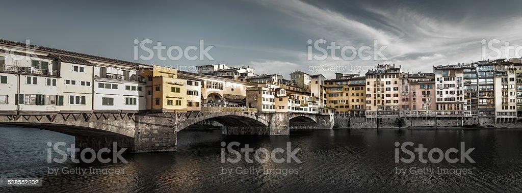 Ponte Vechhio Bridge Panorama stock photo