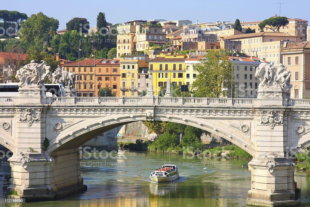Ponte Vittorio Emanuele II in Rome, Italy royalty-free stock photo