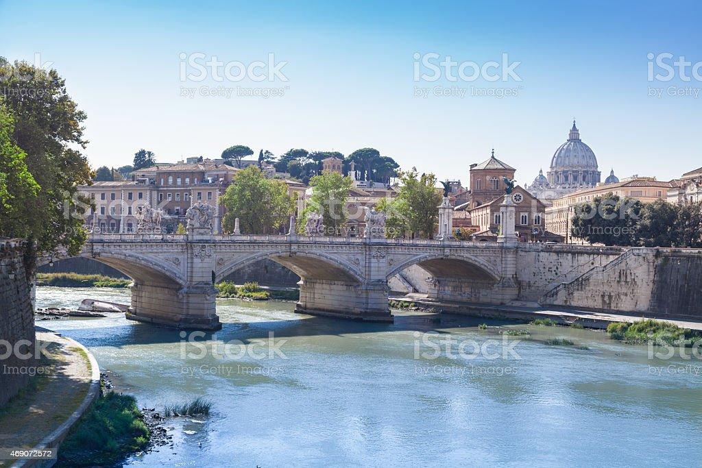 Ponte Vittorio Emanuele II, Rome, Italia stock photo