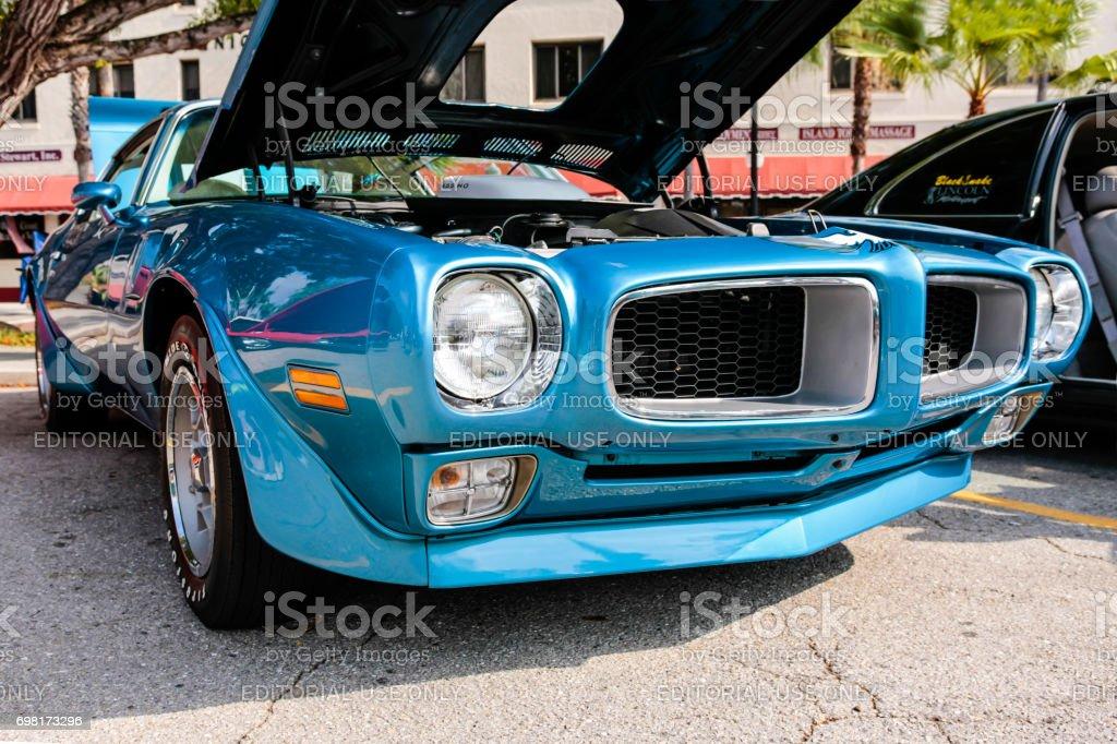 1973 Pontiac Firebird Trans Am Muscle Car at the car show in venice, FL, USA stock photo