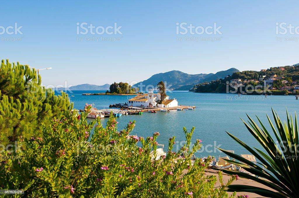 Pontikonisi and Vlacheraina monastery from the hilltop of Kanoni. Corfu. stock photo