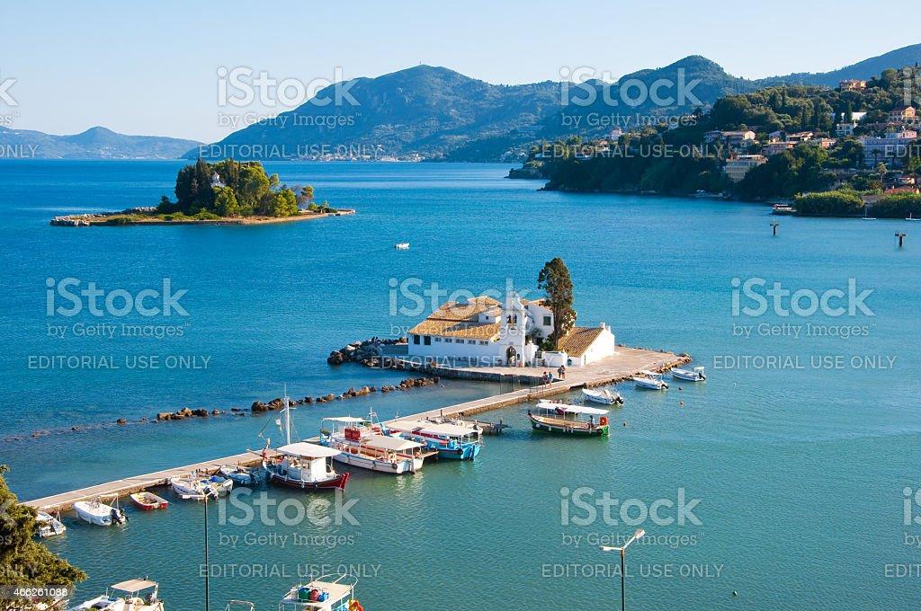 Pontikonisi and Vlacheraina monastery on the south of Corfu town. stock photo