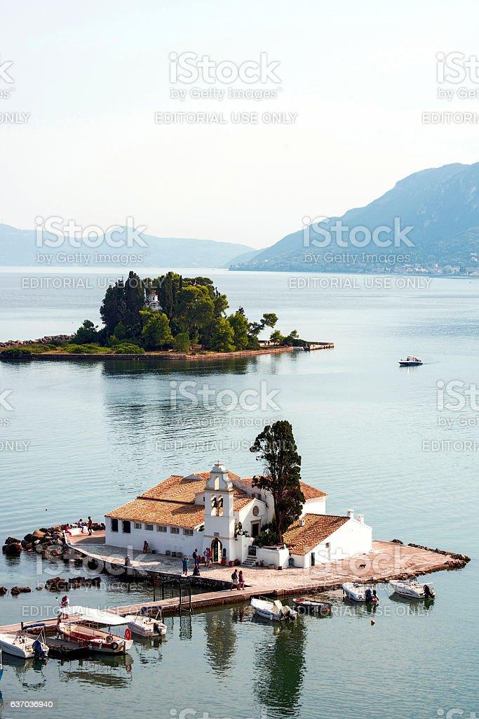 Pontikonisi and Vlacheraina monastery seen from Kanoni stock photo