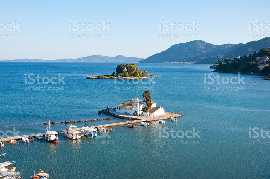 Pontikonisi and Vlacheraina Orthodox monastery from the Kanoni hilltop. Greece. stock photo