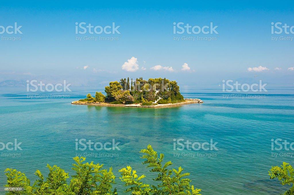 Pontikonisi island also known as Mouse island. Corfu, Greece. stock photo