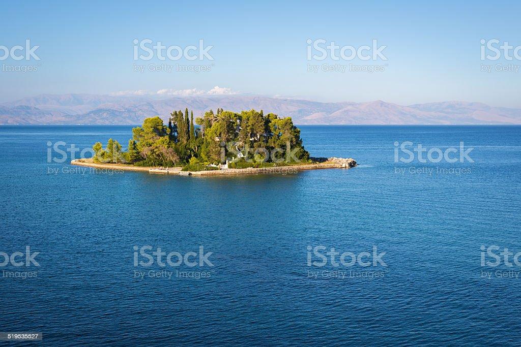 Pontikonisi island at Corfu Greece stock photo