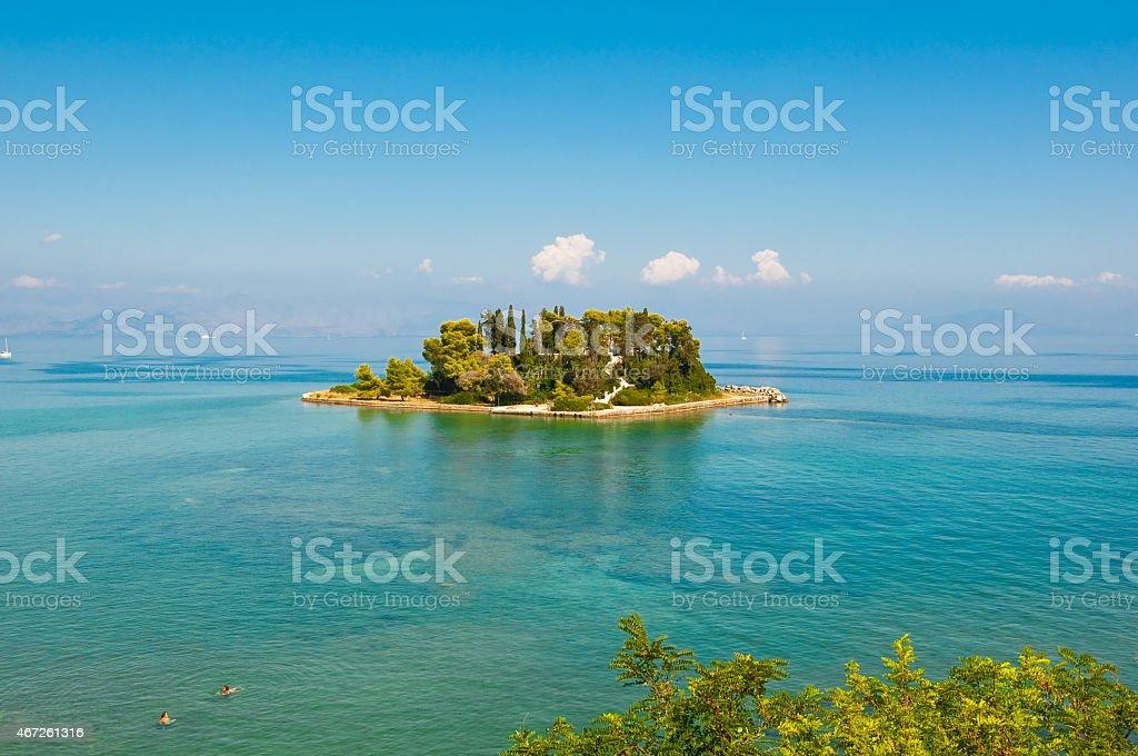 Pontikonisi or Mouse island. Corfu, Greece. stock photo