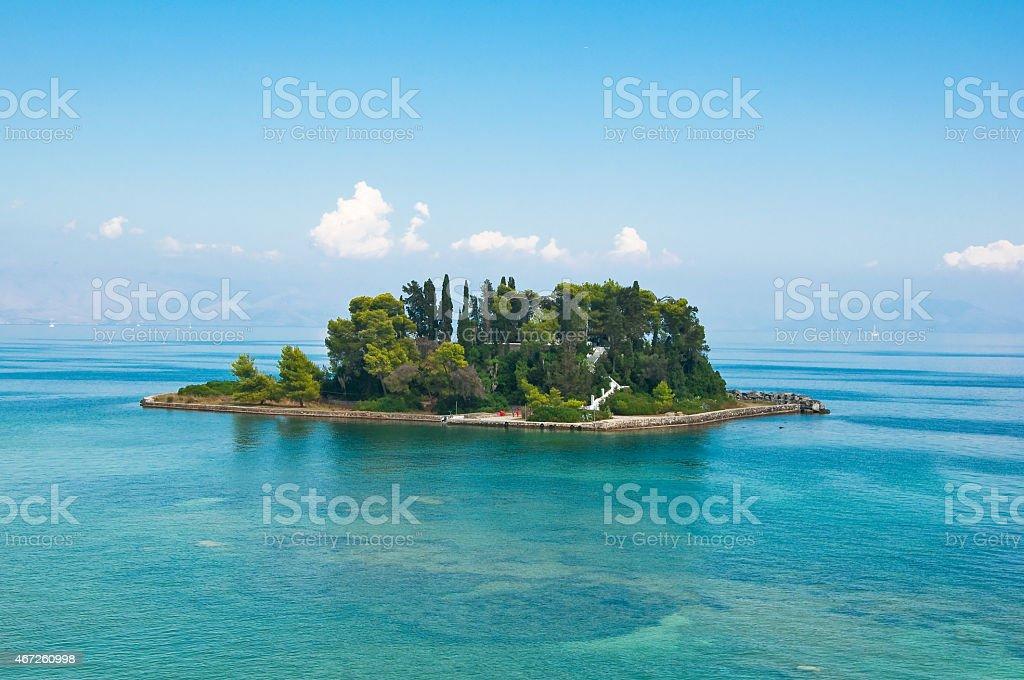 Pontikonisi or Mouse island in Ionian sea. Corfu island,Greece. stock photo