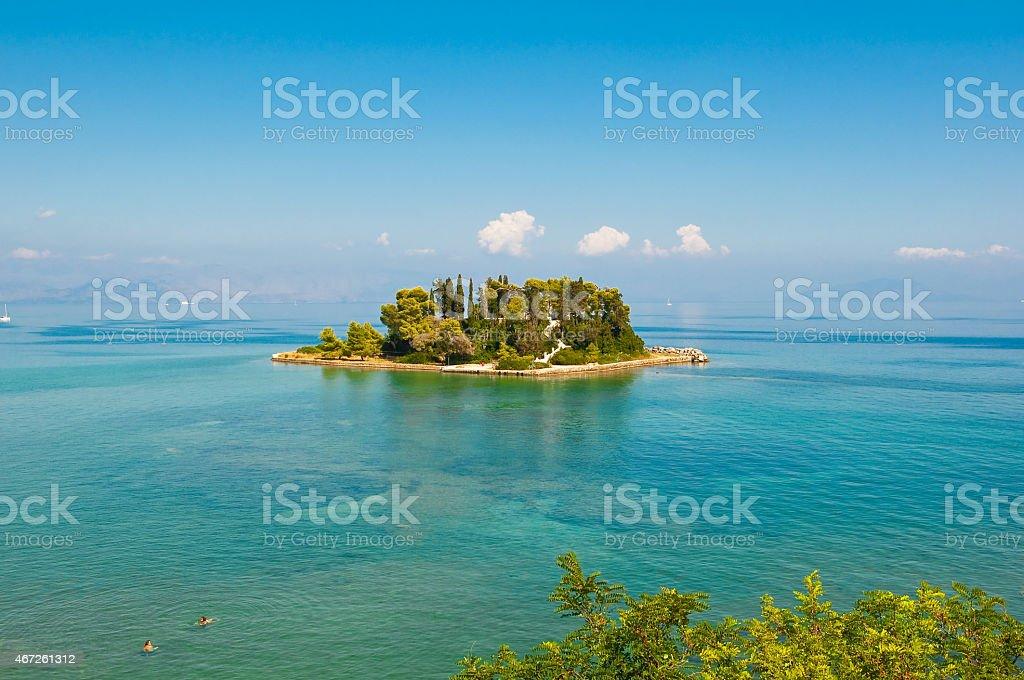 Pontikonisi or Mouse island near Corfu island. Greece. stock photo