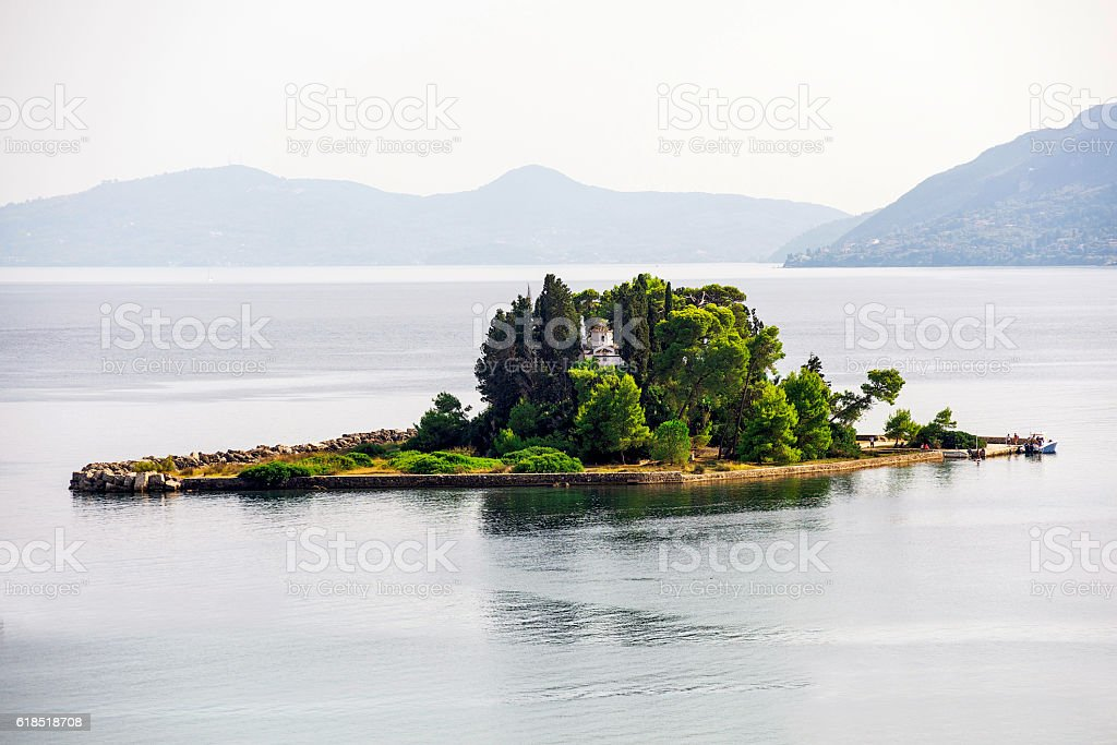 Pontikonisi seen from Kanoni stock photo