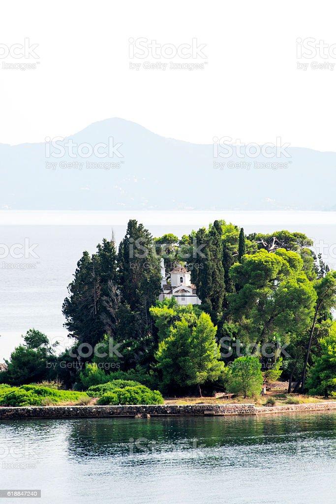 Pontikonisi seen from Kanoni stock photo