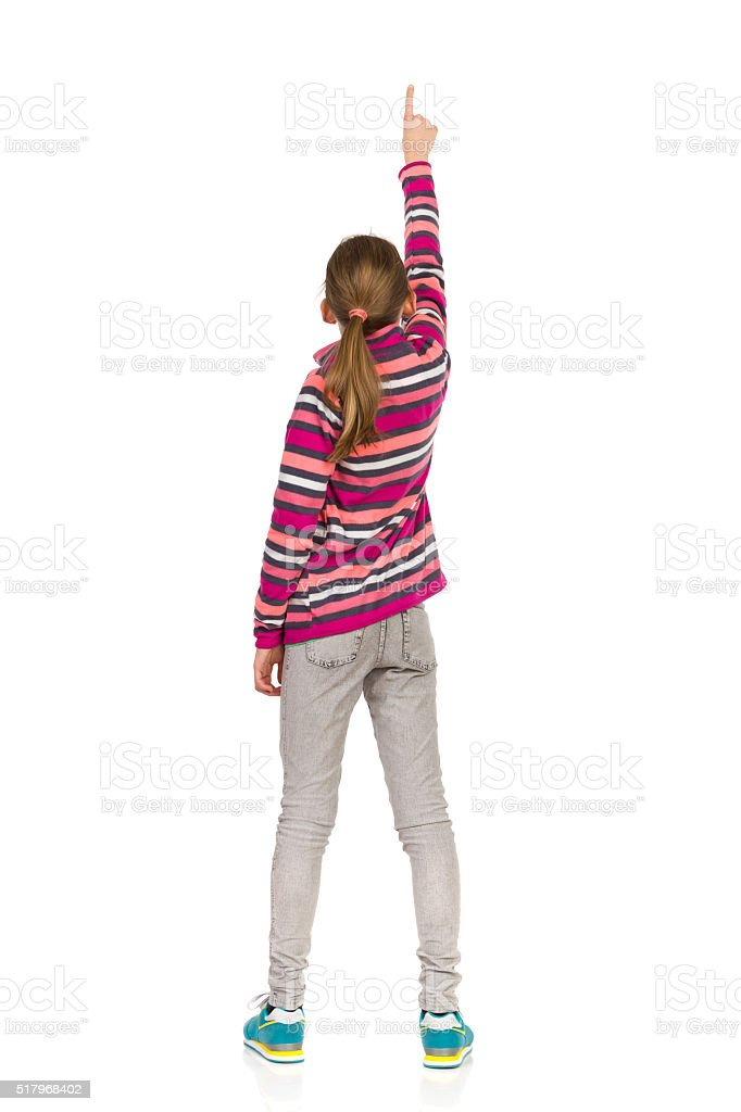 Ponting Teen Girl, Rear View stock photo