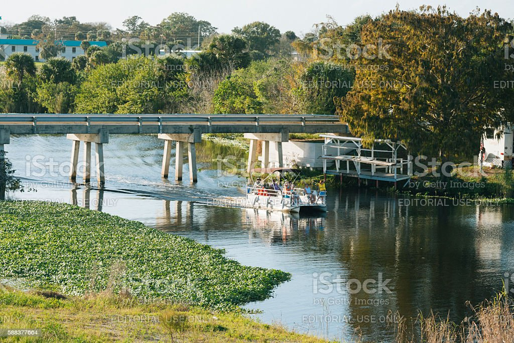 Pontoon Boat Ride on Lake Okeechobee Florida USA stock photo