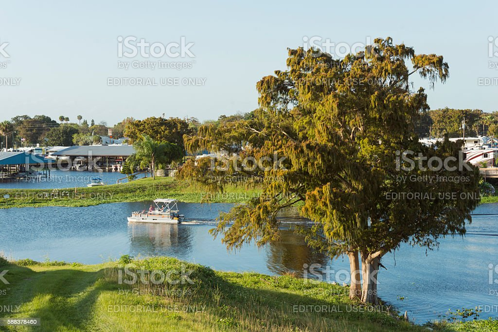 Pontoon Boat Rides on Lake Okeechobee Canal Florida USA stock photo