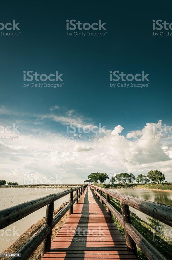 pontoon bridge with blue sky landscpae stock photo