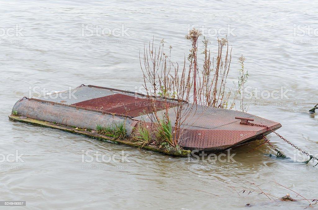 Pontoon, floating bridge stock photo