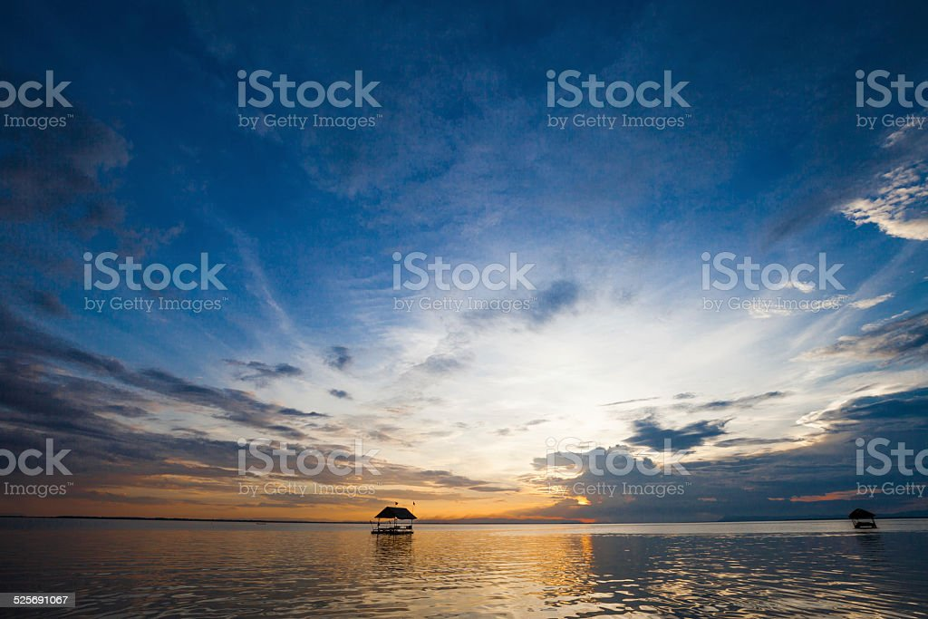 Pontoon floating in the water stock photo