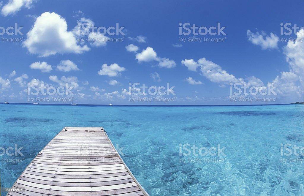 Ponton au paradis tropical, Polynésie stock photo