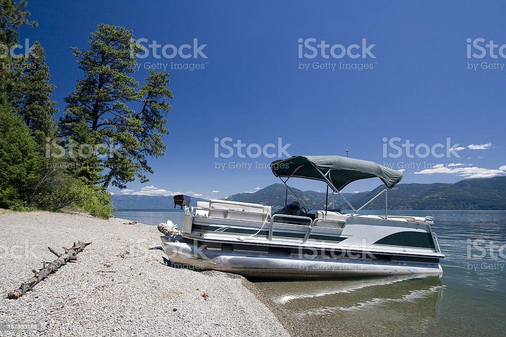 Pontoon on lake stock photo