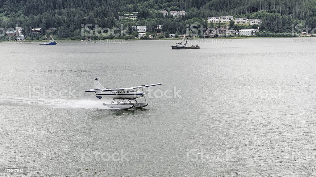 Pontoon Plane Coming In For A Landing royalty-free stock photo