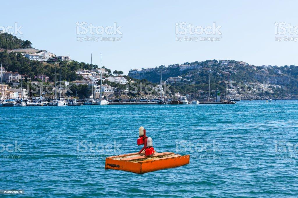 Ponton, Schwimm Plattform in der Bucht von Port Andratx stock photo
