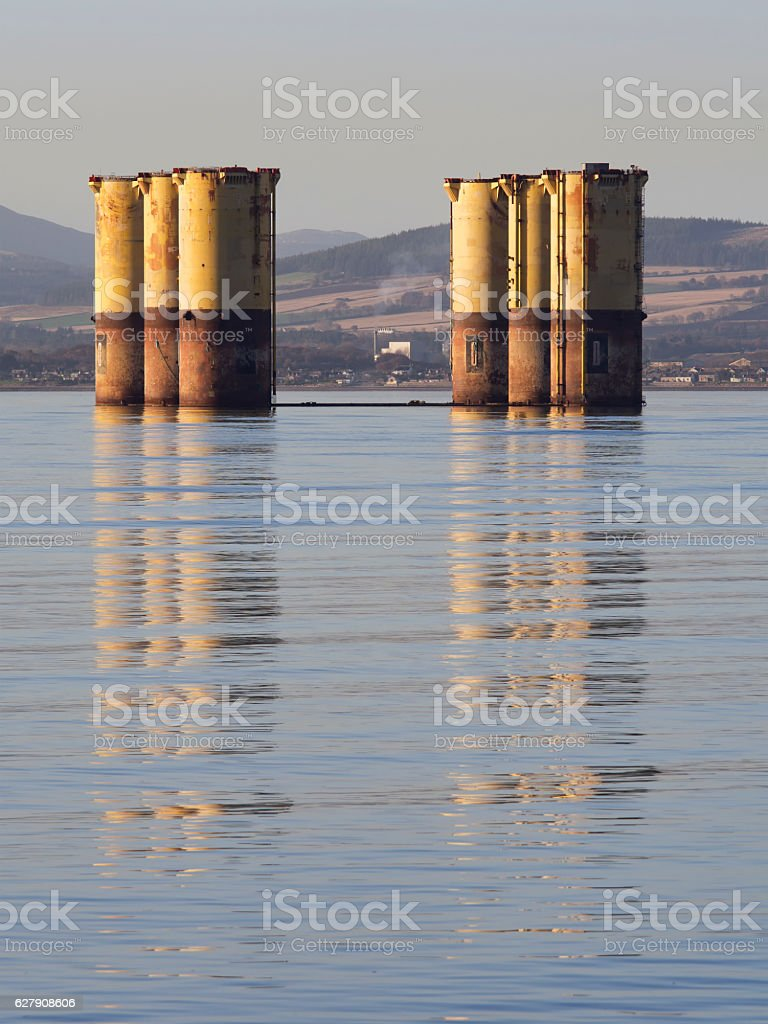 Pontoons from a semi-submersible oil rig stock photo