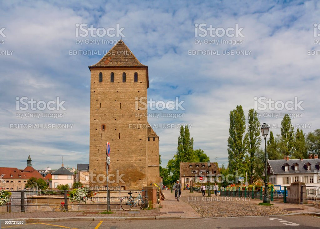 Ponts Couverts bridge and towers in Strasbourg, France stock photo