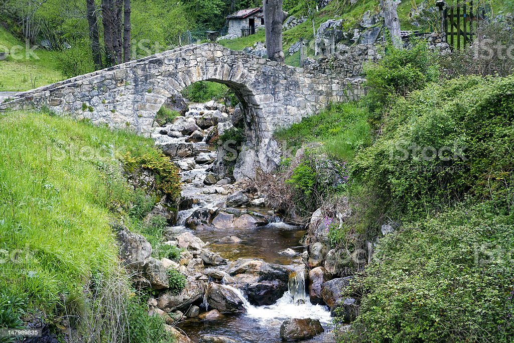 Poo de Cabrales, Old rustic village of Asturia stock photo
