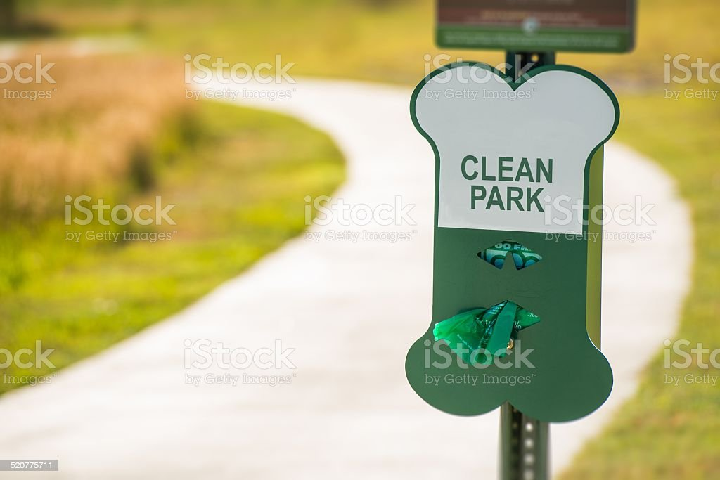 Poo Free Park Sign stock photo