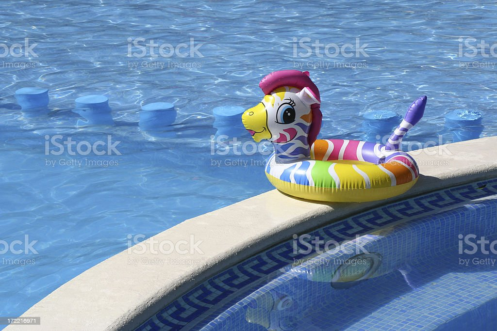 Pool and childs swimming belt stock photo