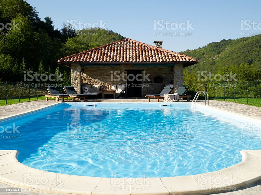 Pool and poolhouse stock photo