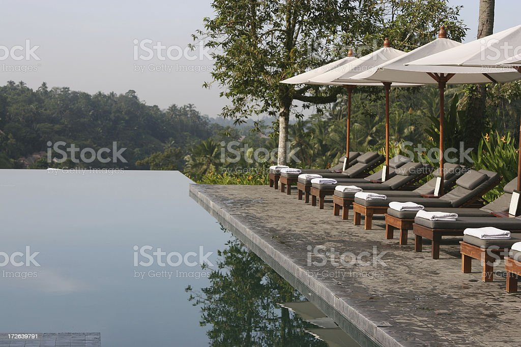 Pool and Sunbeds royalty-free stock photo