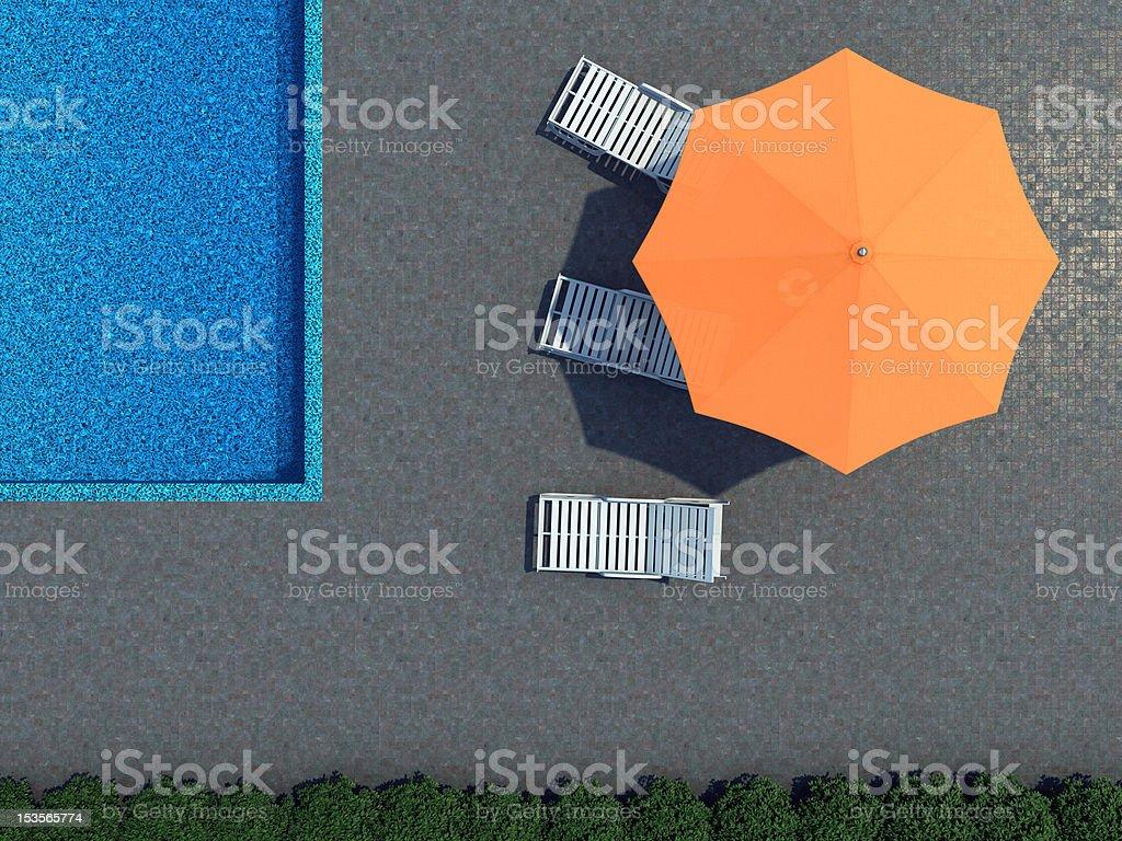 pool and sunshade topview stock photo