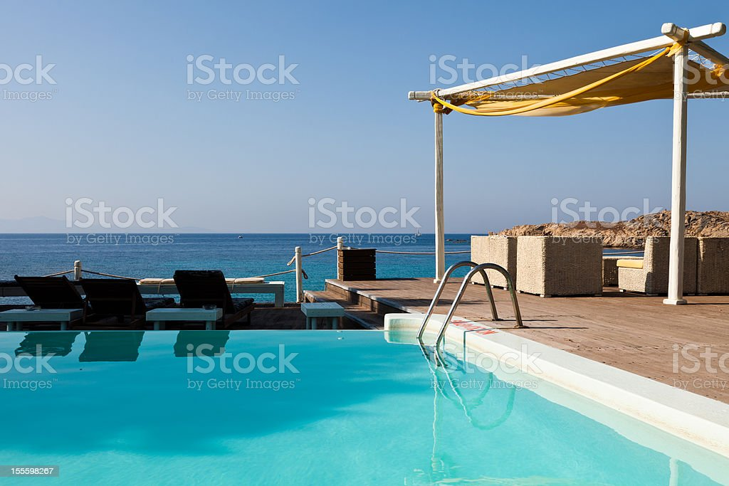 Pool at greek island resort royalty-free stock photo