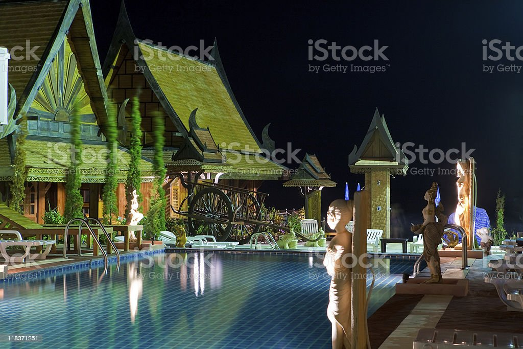 Pool at night stock photo