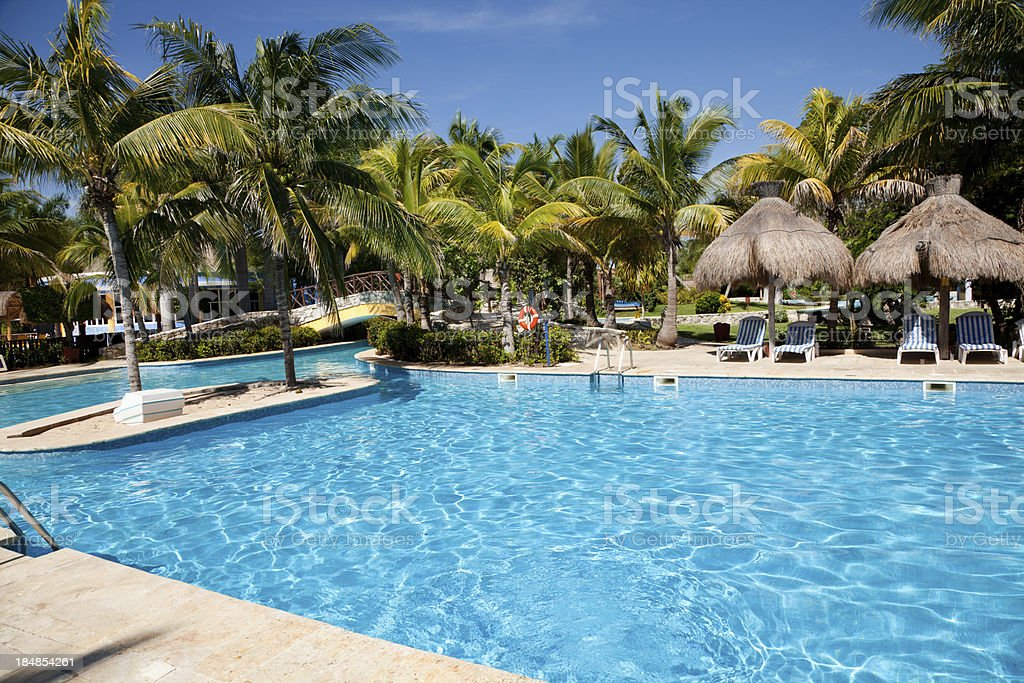 Pool at resort on Riviera Maya in Mexico stock photo